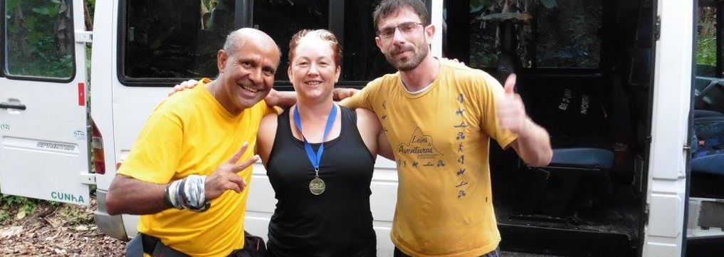 Beth and two guides during trek in Brazil